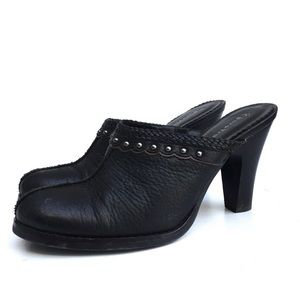 Bare Traps Black Leather Heeled Mules, Size 7.5